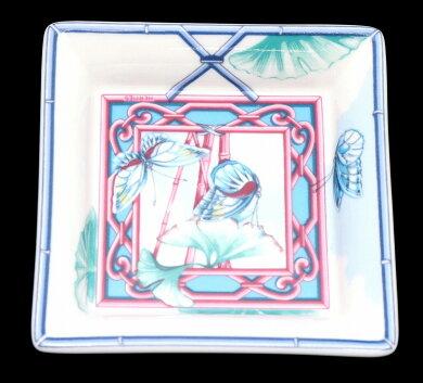 HERMESエルメスバタフライ蝶々小皿トレイインテリア小物入れ磁器ポーセリンホワイトブルー系マルチカラー【中古】【s】