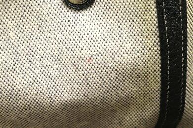 【バッグ】HERMESエルメスガーデンパーティPMトートバッグハンドバッグトワルアッシュレザーライトグレー黒ブラック【中古】【s】