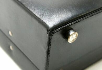 【バッグ】LOEWEロエベアタッシュケース書類カバンビジネスバッグブリーフケースレザーブラック黒シルバー金具【中古】【s】