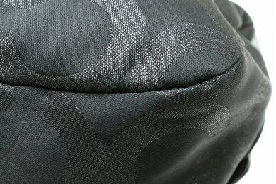 【バッグ】COACHコーチシグネチャーレキシーオプアートサッチェルショルダーバッグトートバッグサテンキャンバスレザーブラック黒14070【中古】【s】