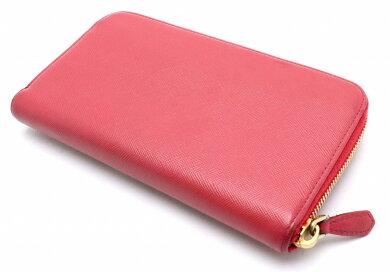 【財布】PRADAプラダラウンドファスナーリボン長財布型押しレザーピンクゴールド金具1ML506【中古】【s】
