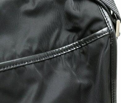 【バッグ】PRADAプラダショルダーバッグメッセンジャーバッグ斜め掛けナイロンレザーNERO黒ブラックV166【中古】【s】