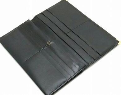 【財布】dunhillダンヒルオックスフォード2つ折長財布レザーカーフ黒ブラックゴールド金具【中古】【s】