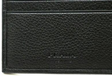 【新品未使用品】【財布】PRADAプラダVITELLOGRAIN2つ折財布レザー型押しNEROブラック黒国内アウトレット店購入品2MO002【s】