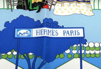 【未使用品】【アパレル】HERMESエルメスカレ90スカーフ大判スカーフセビリアの休日『FERIADESEVILLA』シルク100%ブルー系マルチカラー【中古】【s】