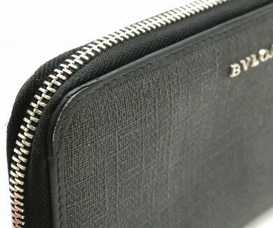 【財布】BVLGARIブルガリウィークエンドラウンドファスナー長財布PVCレザー黒ブラックダークグレー32587【中古】【s】