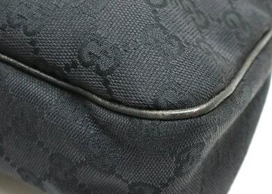 【バッグ】GUCCIグッチGGキャンバスショルダーバッグトートバッグ肩掛けキャンバスレザーブラック黒121023【中古】【s】