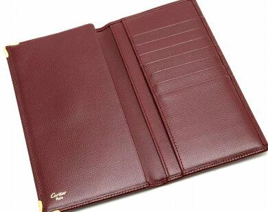 【財布】Cartierカルティエマストライン2つ折長財布札入れレザーボルドーゴールド金具【中古】【s】