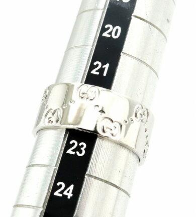 【ジュエリー】【新品仕上げ済】GUCCIグッチアイコンリングワイドメンズGGリング指輪K18WG750WGホワイトゴールド23号#23【中古】【s】