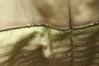 【バッグ】PRADAプラダロゴジャガードハンドバッグ2WAYショルダーバッグ斜め掛けキャンバスレザーカーキエメラルドグリーンTURCHE青緑系BN1671【中古】