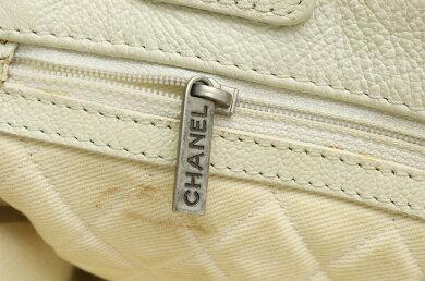 【バッグ】CHANELシャネルココマークパンチングメッシュトートバッグショルダーバッグ肩掛けレザーアイボリー白A33936【中古】