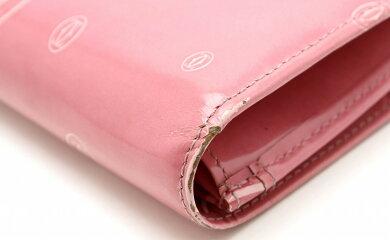 【財布】Cartierカルティエハッピーバースデーハッピーバースデイ2つ折長財布エナメルカーフレザーピンクL3001282【中古】