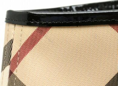 【バッグ】BURBERRYバーバリーノバチェックチェック柄トートバッグショルダーバッグ肩掛けPVCパテントレザーベージュブラックレッド【中古】