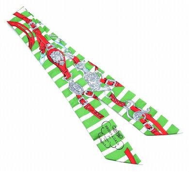 【アパレル】HERMESエルメスブリッドドゥガラツイリースカーフバッグスカーフバッグアクセサリーシルク100%グリーン系マルチカラー【中古】