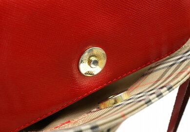 【バッグ】BURBERRYバーバリートートバッグショルダートートチェック柄キャンバスレザーレッドベージュブラック【中古】