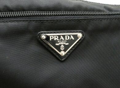 【バッグ】PRADAプラダナイロンショルダーバッグ斜め掛けマチなしレザー黒ブラックBT0420【中古】