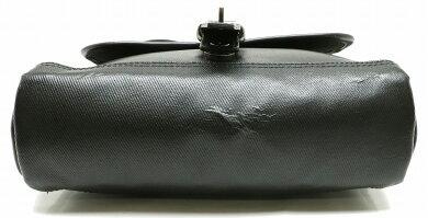 【バッグ】BURBERRYバーバリーブラックレーベルメッセンジャーバッグショルダーバッグチェック柄ナイロンキャンバスレザーブラック黒【中古】