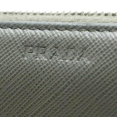 【財布】PRADAプラダロゴラウンドファスナー長財布サフィアーノ型押しレザーBALTICOグレー灰色シルバー金具国内ブティック購入品2ML317【中古】