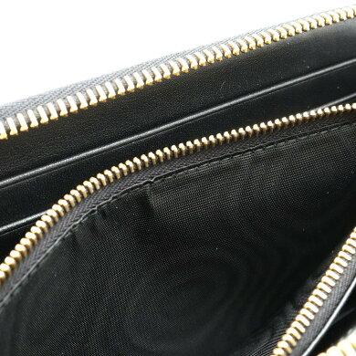 【新品未使用品】【財布】PRADAプラダサフィアーノラウンドファスナー長財布型押しレザーNEROブラック黒ゴールド金具1ML506