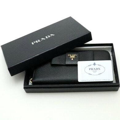 【財布】PRADAプラダラウンドファスナーリボン長財布型押しレザーブラック黒ゴールド金具1ML506【中古】