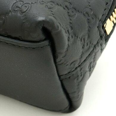 【新品未使用品】【バッグ】GUCCIグッチマイクログッチシマポーチ化粧ポーチコスメポーチペンケースマルチポーチレザーブラック黒アウトレット品449894