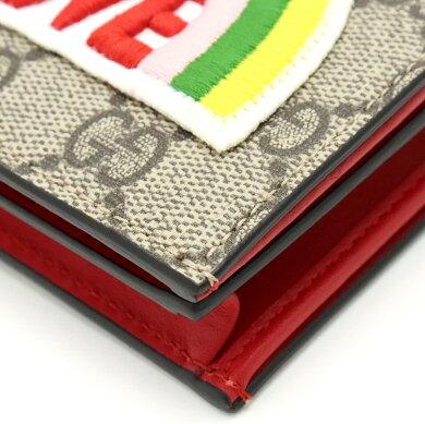 【新品未使用品】【財布】GUCCIグッチGGスプリームハーフウォレット2つ折財布レインボーLOVE刺繍PVCレザーカーキベージュマルチカラー476412493075