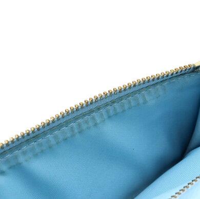 【財布】COACHコーチ長財布ラグジュアリークロスグレインライトブルー水色レザーゴールド金具F52689【中古】