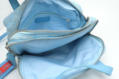 【バッグ】CHANELシャネルニュートラベルラインハンドバッグショルダーバッグ斜め掛け2WAYナイロンジャガードライトブルー水色レッド赤【中古】
