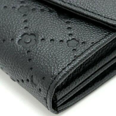 【未使用品】【財布】MARYQUANTマリークワント2つ折長財布財布デイジー金具レザー黒ブラックホワイト白【中古】