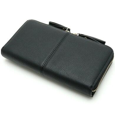 【財布】JILLSTUARTジルスチュアートラウンドファスナー長財布レザーブラック黒【中古】