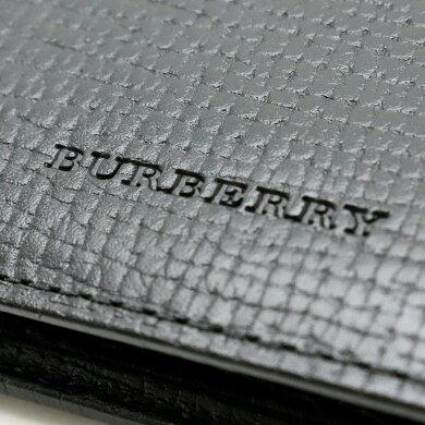 【未使用品】【財布】BURBERRYバーバリー二つ折り財布レザーチェック柄ブラック黒FN5571【中古】