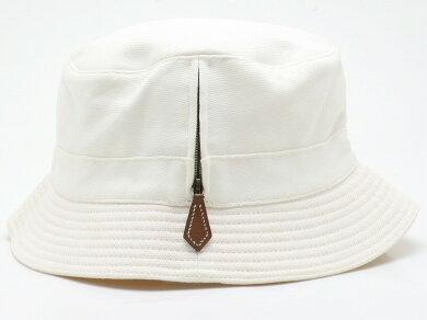 HERMESエルメスファスナーチャームポークバイハットHロゴ帽子キャップ#58コットン100%ホワイト【中古】