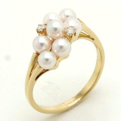 【ジュエリー】【新品仕上げ済み】MIKIMOTOミキモト真珠パールリング2PDダイヤモンドK18YGイエローゴールド#5111号【中古】