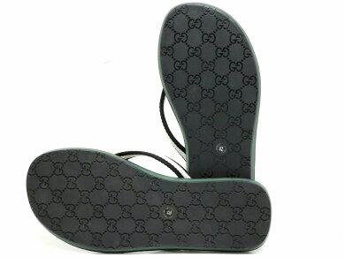 【靴】GUCCIグッチGG柄ストライプビーチサンダルラバーサンダルトングサンダルラバーレザーブラウンブラックホワイトメンズ#4226.0cm【中古】