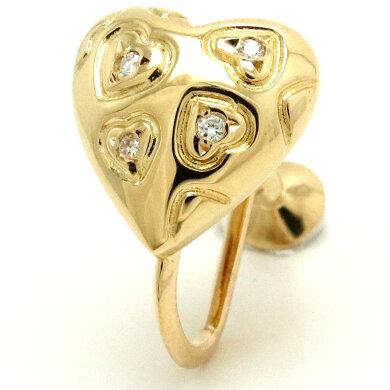 【ジュエリー】MIKIMOTOミキモトハートイヤリングダイヤモンド0.04ctK18YGイエローゴールド【中古】