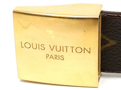 LOUISVUITTONルイヴィトンモノグラムサンチュールキャレベルトゴールドバックル#80cmM6800W【中古】