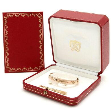 【ジュエリー】【新品仕上げ済】CartierカルティエラブブレスK18PGピンクゴールドブレスレットバングル#16B6035617【中古】