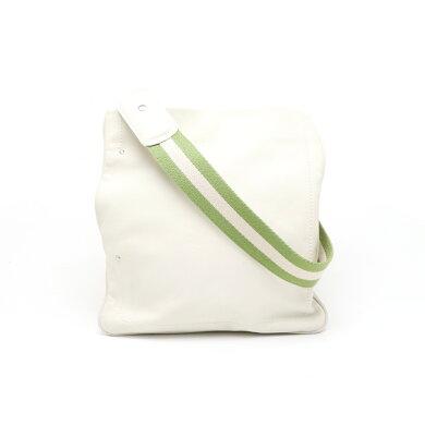 【バッグ】BALLYバリートレインスポッティングショルダーバッグ斜め掛けレザーオフホワイト白グリーン緑【中古】
