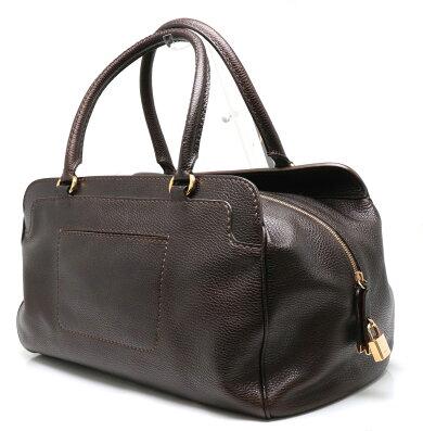 【バッグ】TOD'Sトッズボストンバッグトラベルバッグ旅行用レザーダークブラウンこげ茶ゴールド金具【中古】