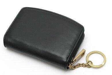 【財布】BALLYバリーラウンドファスナーコインケースコインパース小銭入れレザー黒ブラックゴールド金具【中古】