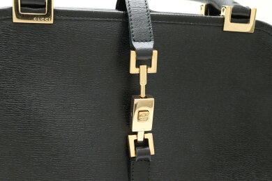 【バッグ】GUCCIグッチジャッキーラインショルダーバッグセミショルダーハンドバッグレザーブラック黒0021071【中古】