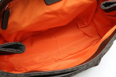 【バッグ】BVLGARIブルガリロゴマニアトートバッグショルダーバッグショルダートートキャンバスレザーブラウン茶オレンジ【中古】