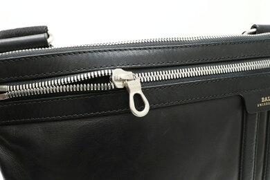 【バッグ】BALLYバリーショルダーバッグ斜め掛けレザーブラック黒メンズシルバー金具【中古】