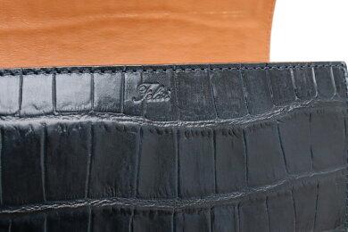 【未使用品】【財布】Felisiフェリージコロコロロングウォレット型押しクロコレザー2つ折長財布ネイビー紺3005SA0005【中古】