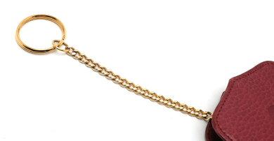 CartierカルティエマストラインシガレットケースタバコケースアイコスケースIQOS携帯ケースチェーン付きレザーボルドー赤【中古】