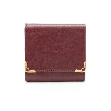 【未使用品】【財布】Cartierカルティエマストラインマストドゥカルティエスクエアコインケース小銭入れレザーカーフボルドー赤L3000158【中古】