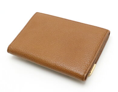 【財布】CartierカルティエマルチェロコインケースカードケースWホック財布ダブルホックレザーキャメルブラウン茶ゴールド金具【中古】
