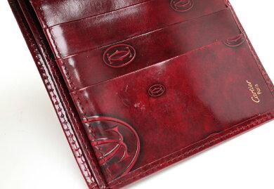 【財布】Cartierカルティエハッピーバースデーハッピーバースデイ2つ折財布二つ折財布エナメルパテントレザーカーフボルドー赤L3000263【中古】