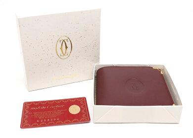 【未使用品】【財布】Cartierカルティエマストラインマストドゥカルティエ2つ折財布レザーボルドーゴールド金具L3000451【中古】
