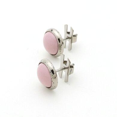 【ジュエリー】HERMESエルメスエクリプスHロゴ丸ピアスシルバー色ピンク【中古】